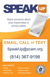 Speak UP Hotline 814-367-9198