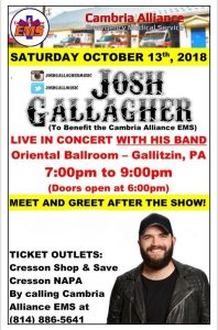 Cambria Alliance EMS concert featuring Josh Gallagher October 13th