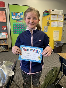 March Panther Pledge Certificate Winner