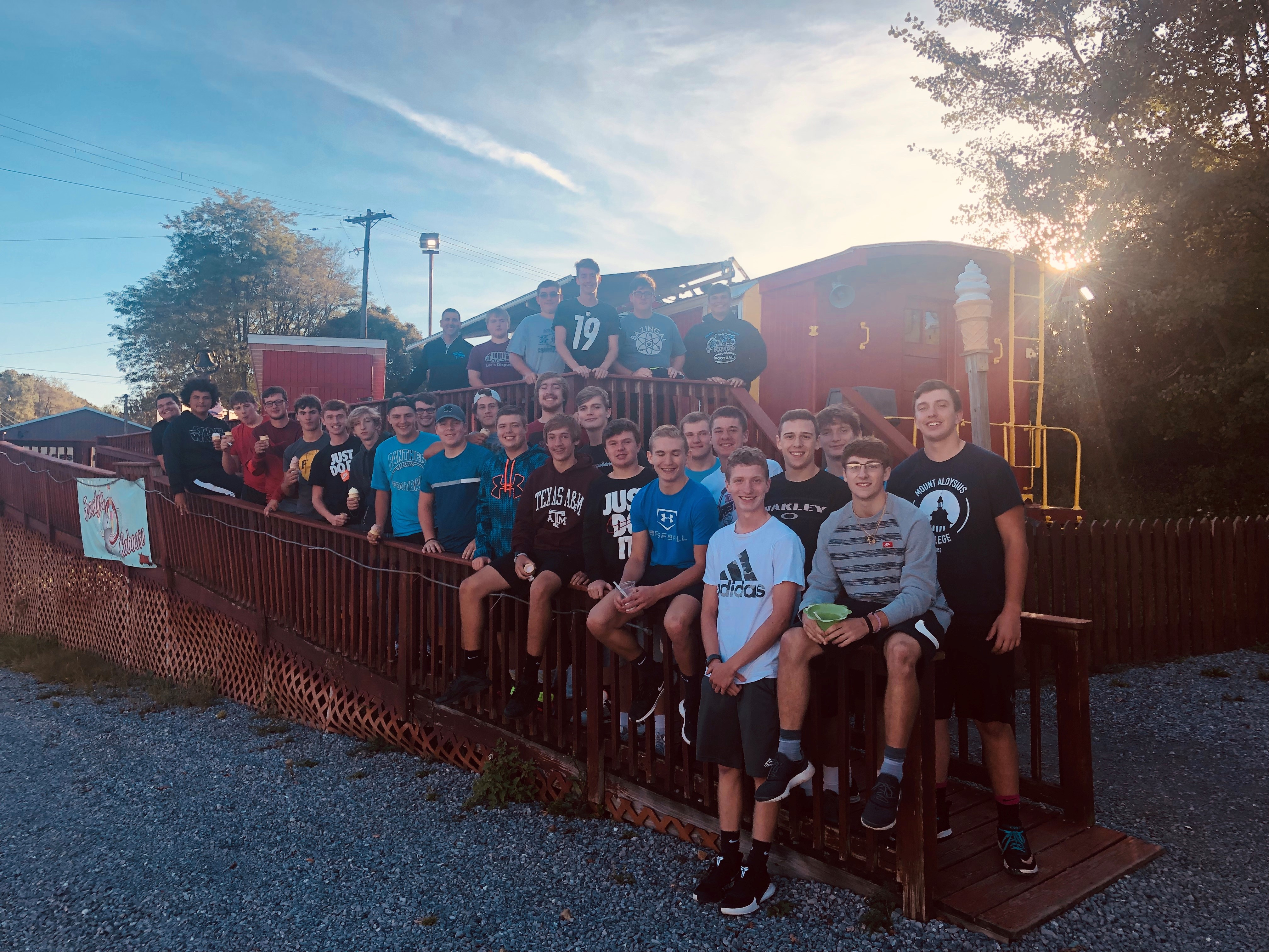 Penn Cambria Football Team at Frosty's Caboose (Cresson)