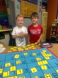 Mrs. Saleme's class enjoys sorting letters at center time.