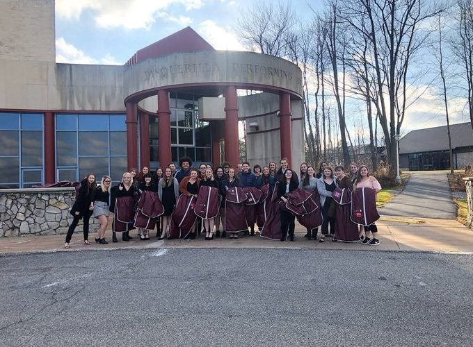 HS chorus member picture after recording a Choral Christmas segment at UPJ