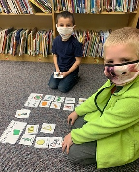 Students participated in a sorting activity in library class.